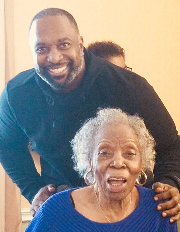 4D Lieutenant Anthony Washington with his grandmother, Helen Mitchell