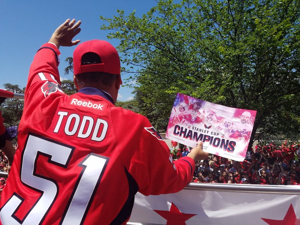 Todd celebrating the Stanley Cup win at the parade for the Capitals