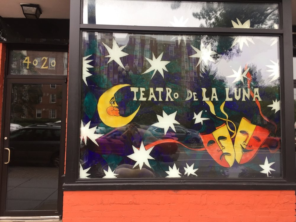 The front window of Teatro de la Luna on Georgia Avenue.
