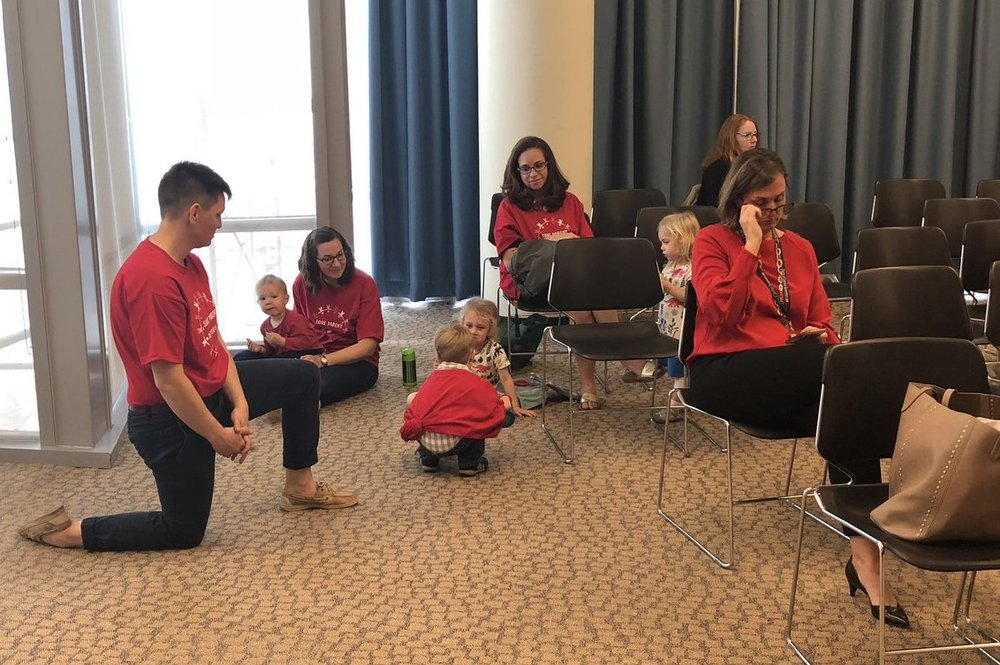 Families at the Council hearing on Thursday.