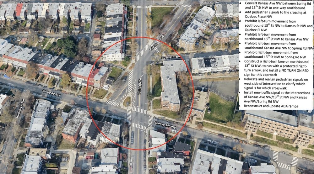 DDOT is proposing changes to lanes, lights and traffic direction at this convoluted intersection.