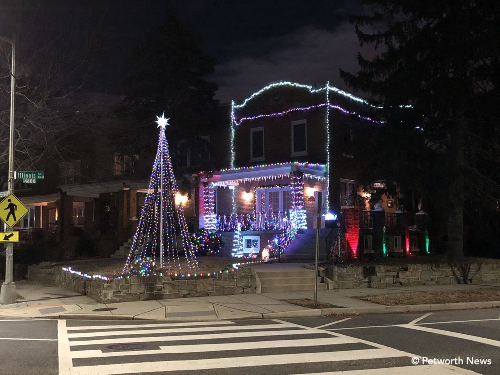 1 Sherman Circle NW lit up for the holidays.