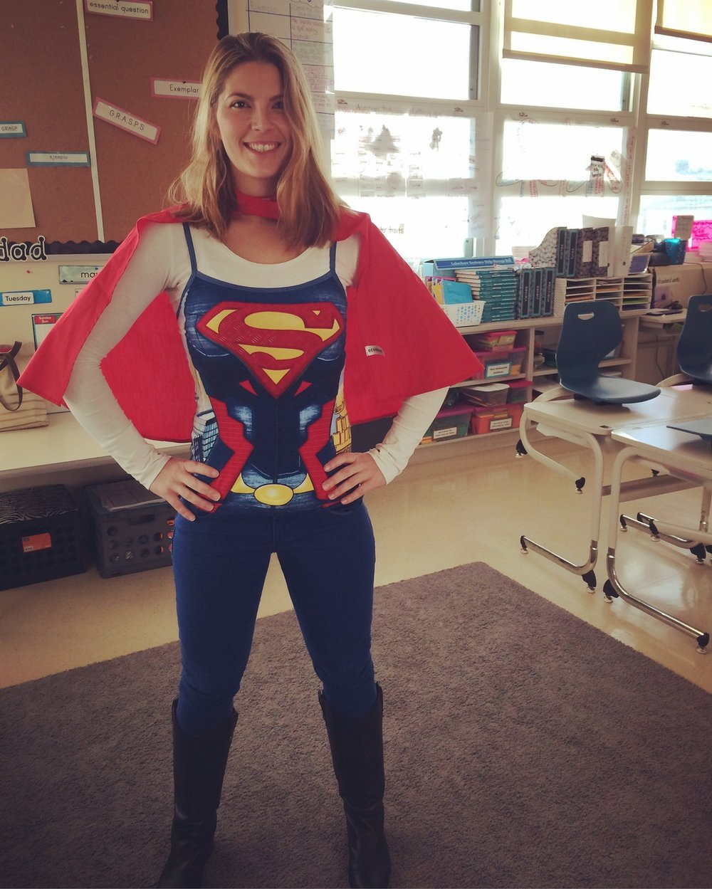 Cataneo dressed up as Supergirl at Powell (photo: Rachel Carson)