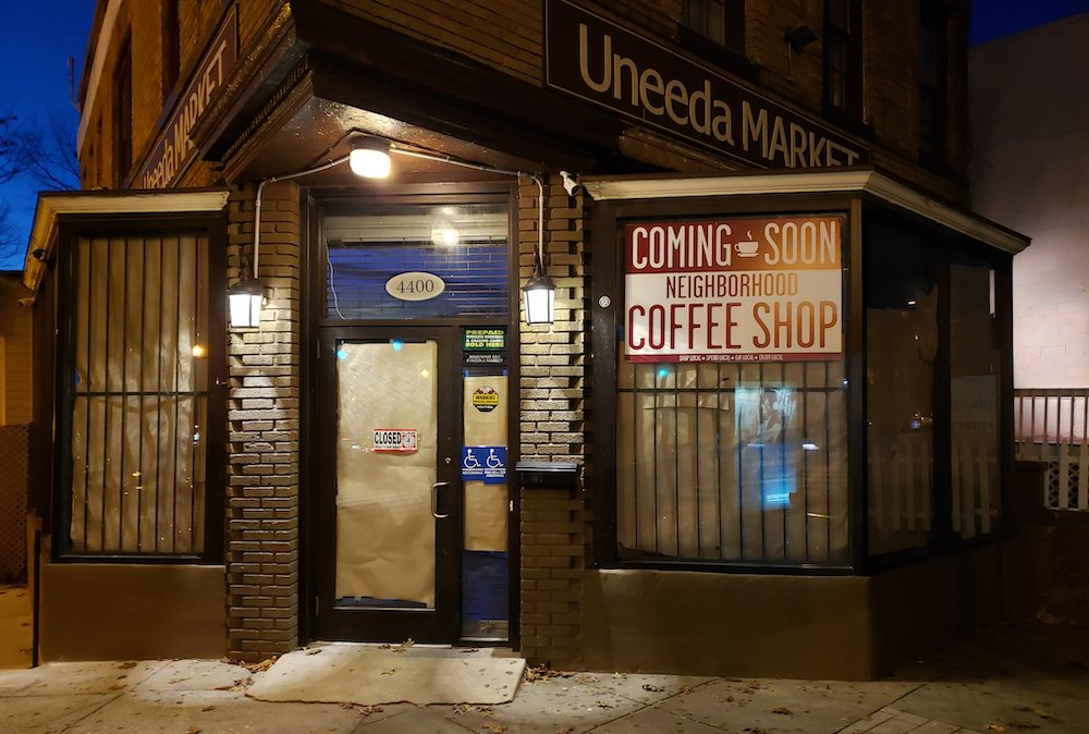 UNeeda convenience store at Webster and Georgia Avenue is converting to a coffee shop (photo:  @YoungBBE on Twitter )