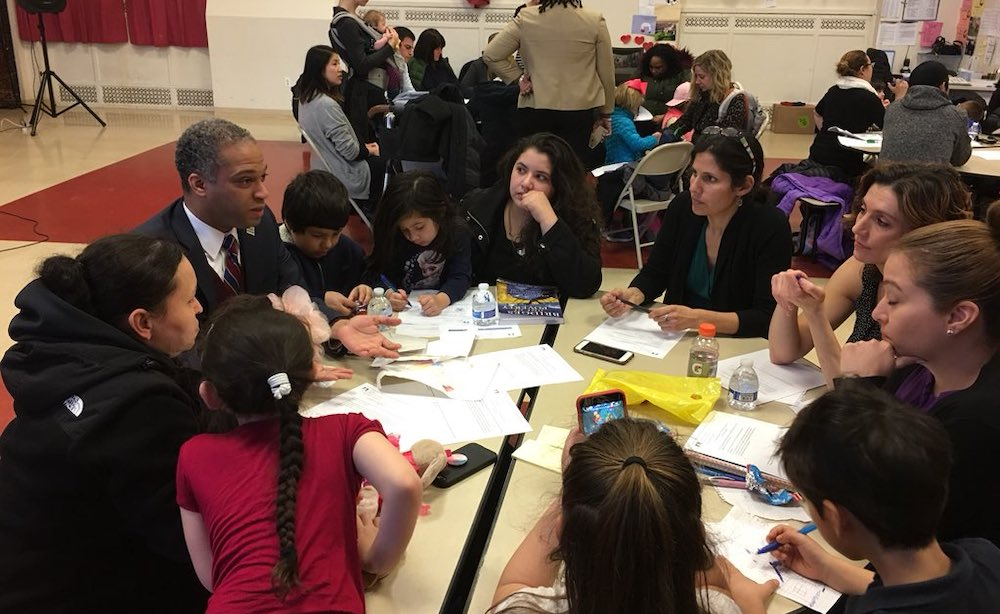 Councilmember Todd meets with parents and students at Powell Elementary,  a Spanish-language elementary immersion program in Petworth.