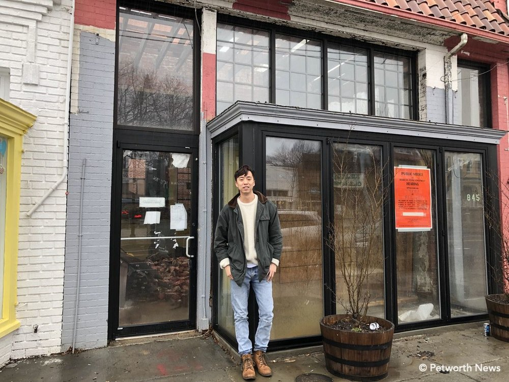 Eric Yoo in front of 845 Upshur, the future home of his ramen restaurant.