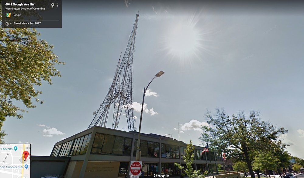 Google Street view of the radio towers on Georgia Ave.