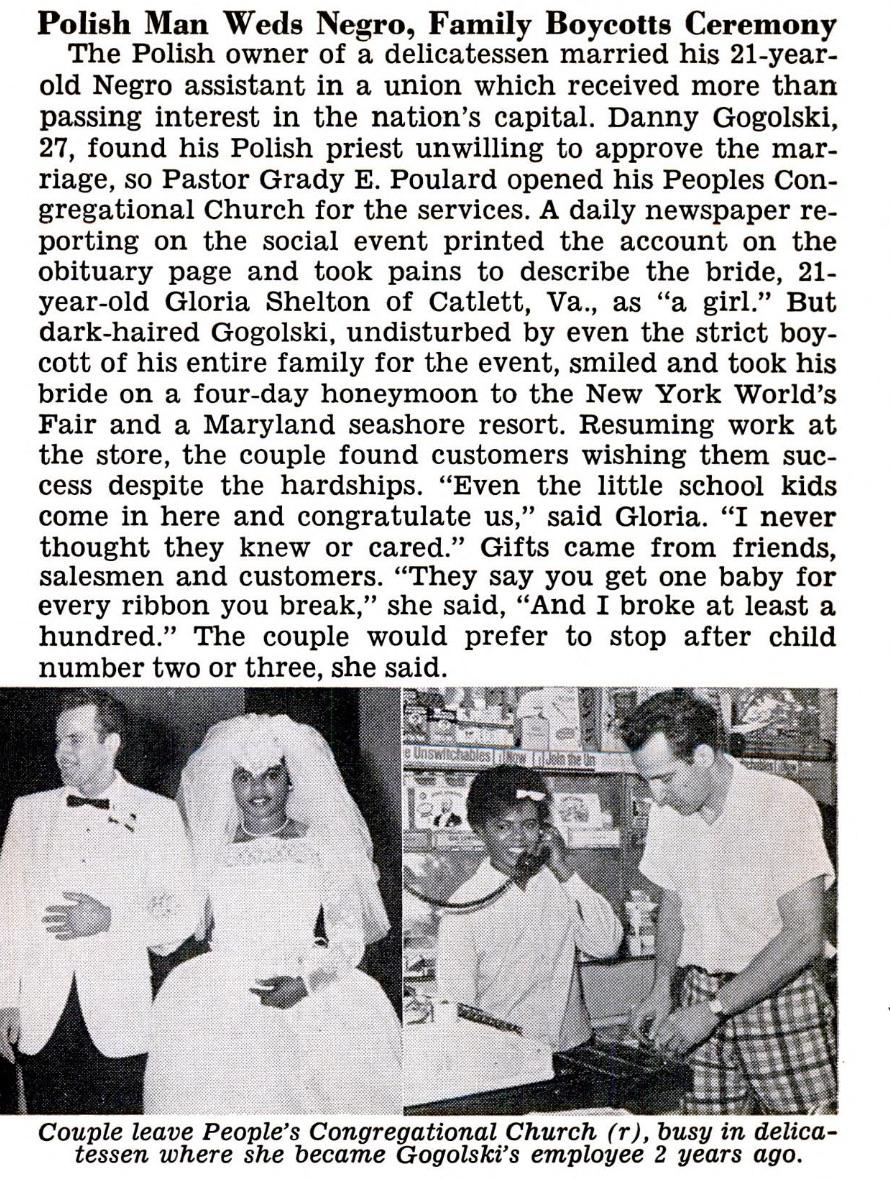 The  Jet magazine  article about the Gogolski's wedding.