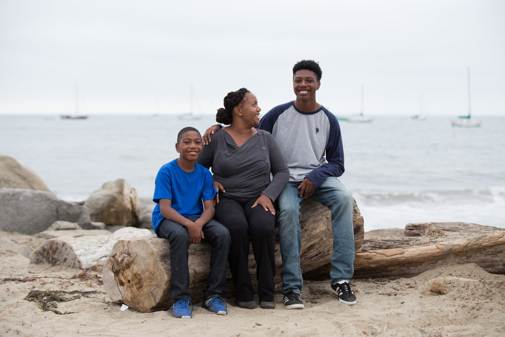 "Ariba with sons Abram and Alijah at Capitola Beach. ""My kids are super-Eastside. Their schools are there, (Capitola beach and village) is where we walk to."""