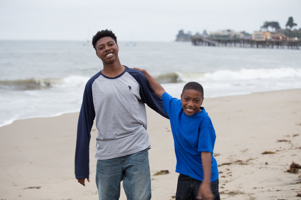 Abram and Alijah at Capitola Beach. Not pictured is their brother and Ariba's oldest son who just moved to the Los Angeles area.