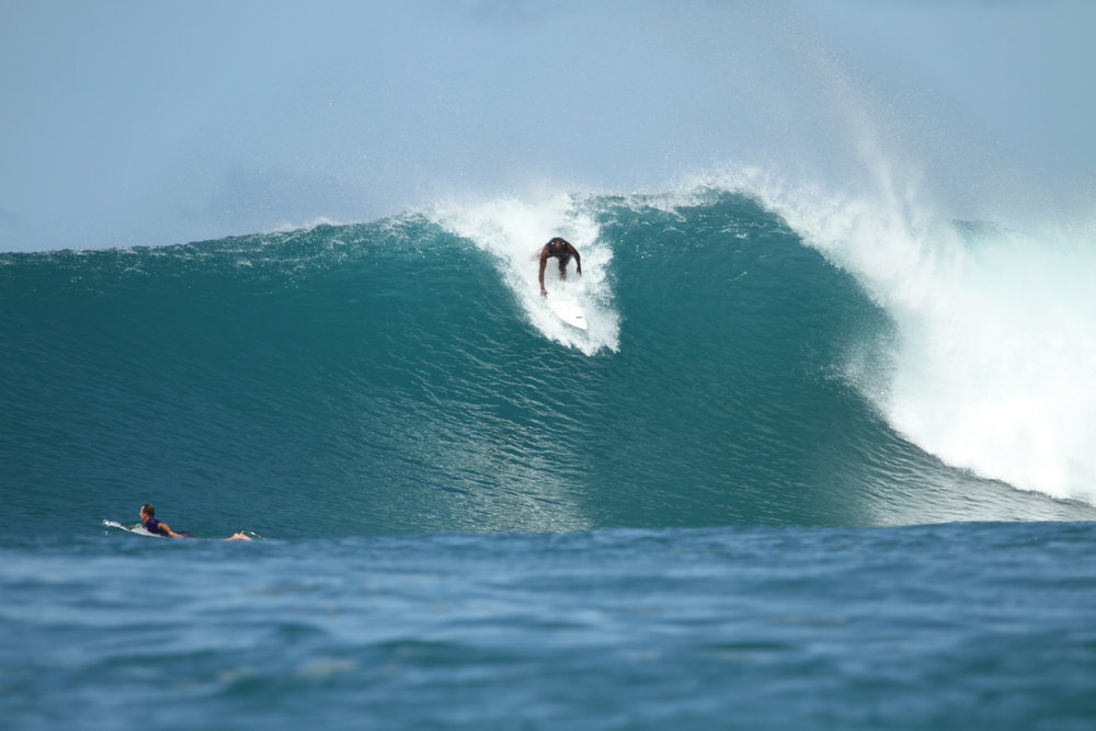 Gary surfs the Bank Vault in Mentawai, Indonesia. Photo credit St. John Visual