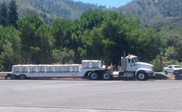 75,000 pounds of PAK 27 await unloading at a public boat ramp.