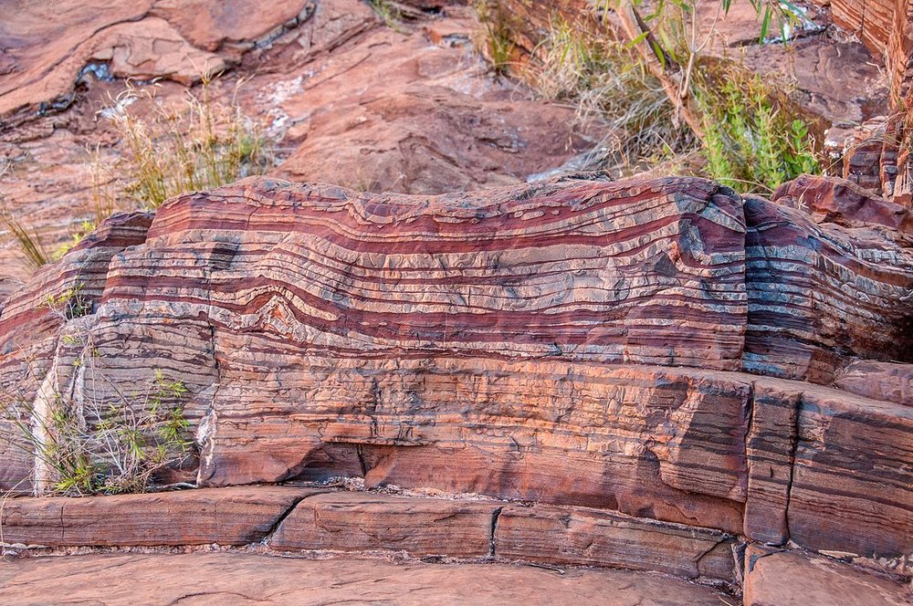 A banded iron formation. Credit: en.wikimedia.org