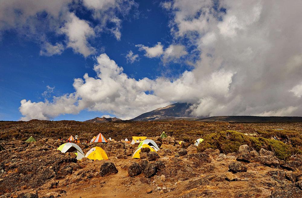Camping along the Lemosho route.