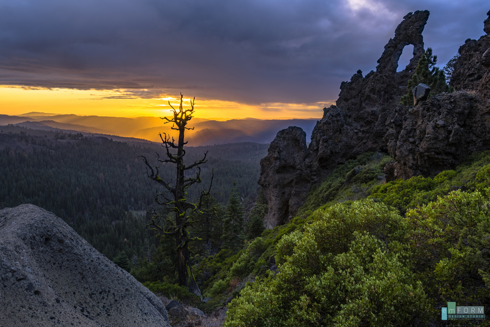 The weathered craggy trees and the unique rock formations make this location in Tuolumne County CA one of my favorites for watching the sunset.  On this particular evening we were treated to a little rain making the valley light up with the mist.     3 shots combined to increase the dynamic range,  ISO 100- F9 at 1/25th, 1/6th, and 0.6 of a second at 18mm using the Nikon D5300 with Sigma 18-35.