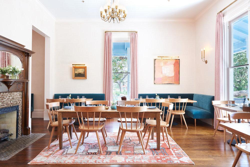 pink antique rug velvet curtains mid century furniture