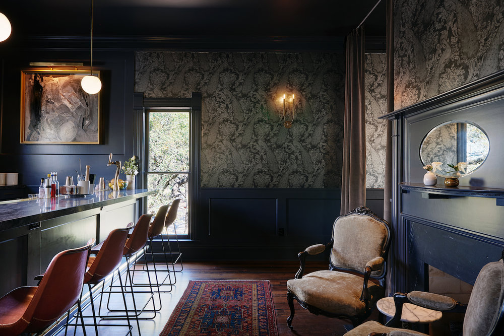 dark moody bar mid-century decor