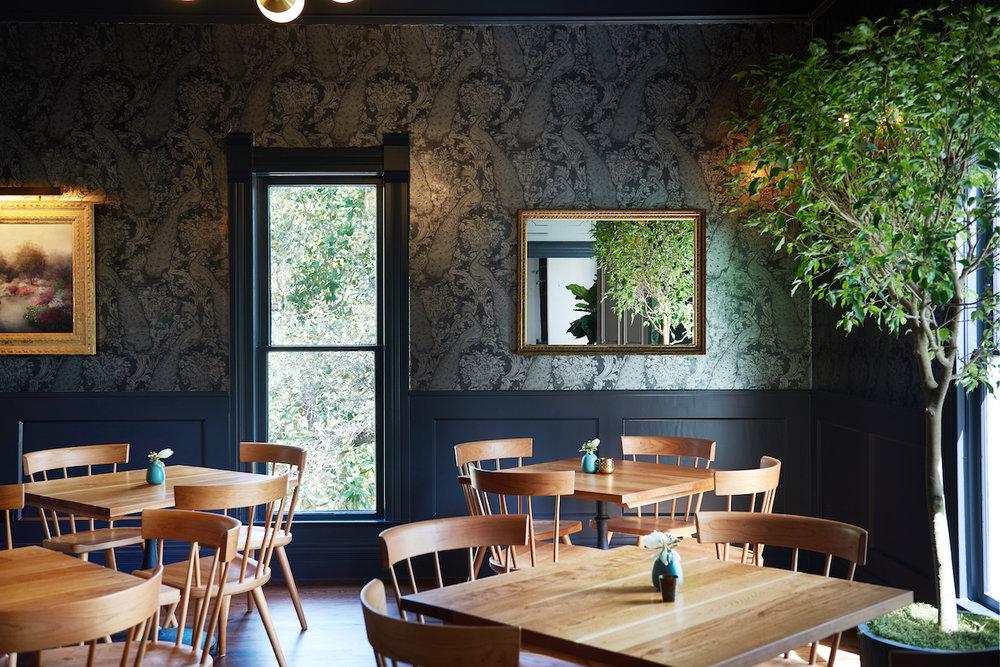 dark moody wallpaper dining room