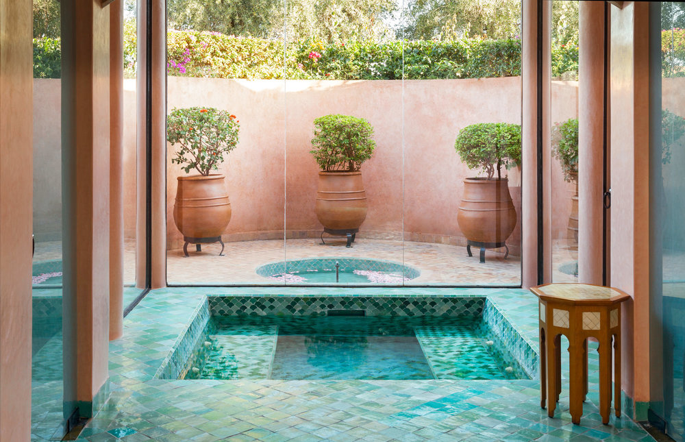 moroccan tile plunge pool
