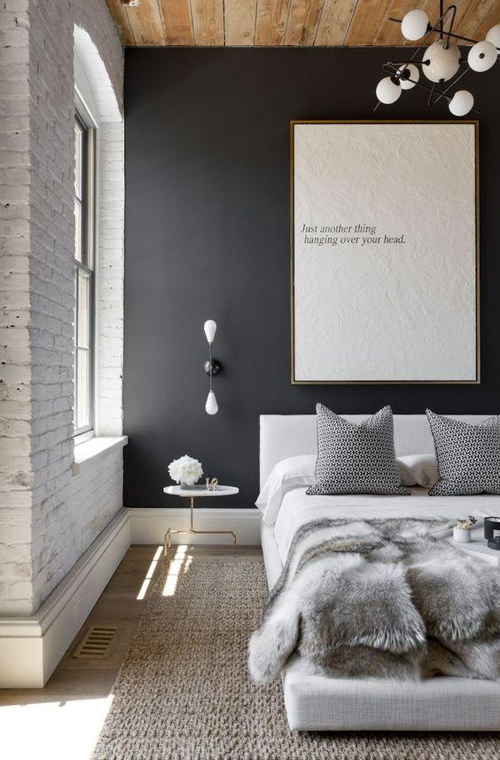 black-walls-exposed-white-brick-bedroom-minimalist