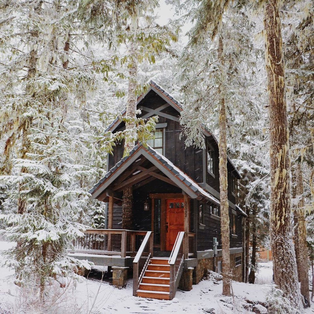 winter cabin timber frame