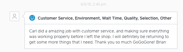Customer feedback from SqaureUp