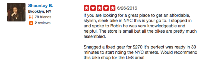 Customer feedback from Yelp