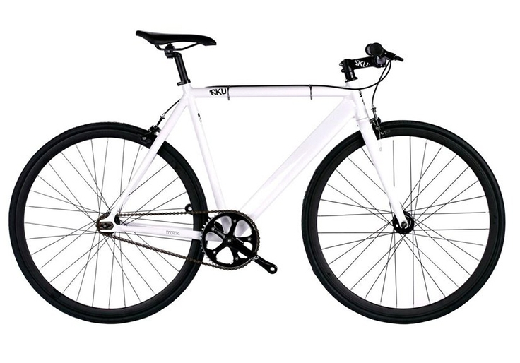 6KU Track $  300   White glossy frame, black wheels, bullhorn handlebars. Available in 48cm, 52cm, 55cm, and 58cm