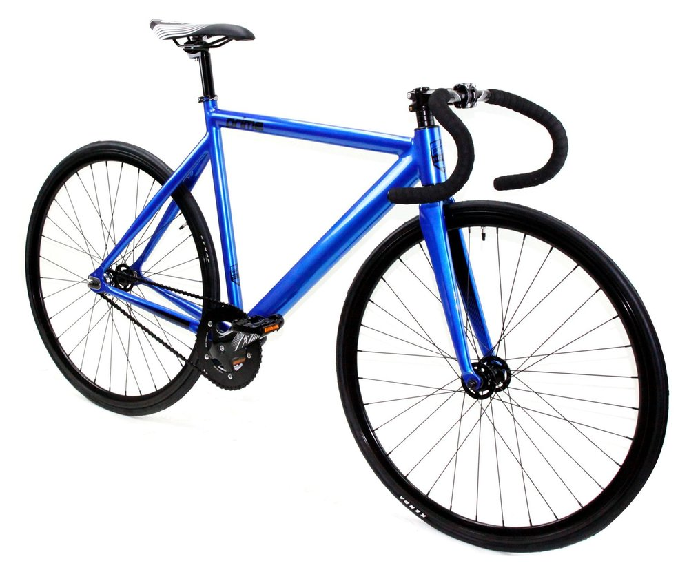 ZYCLE FIX PRIME $350   Blue ionized frame, black wheels, drop handlebars. Available in 48cm, 52cm, 55cm, and 59cm