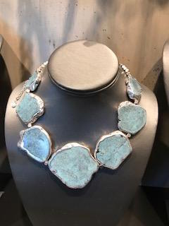 Turquoise Necklace Framed in Silver
