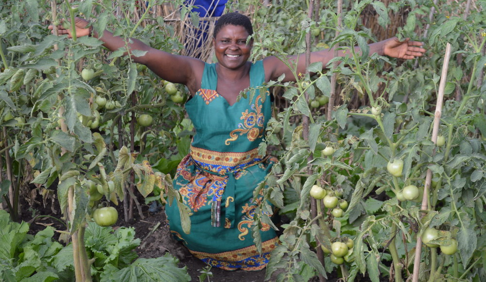 Namitanga mother and her tomatos in Victory Garden, 2018.0320 copy.JPG