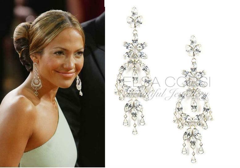 Jennifer Lopez Inspired Crystal Earring, see more designs www.elsacorsi.com