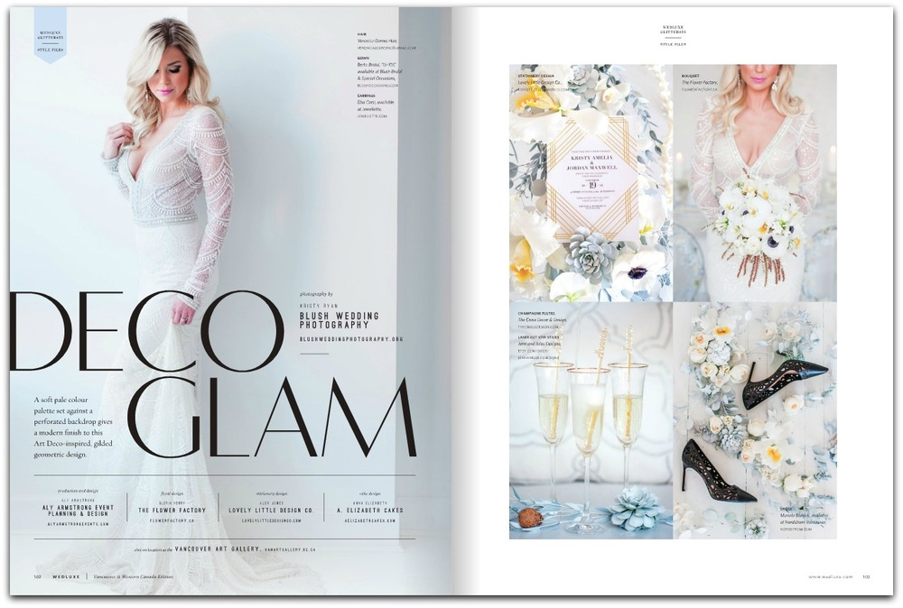 Wedluxe Magazine, Deco Glam Wedding Jewelry by Elsa Corsi www.elsacorsi.com