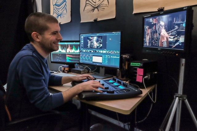 Colorist Dan puts the final touches on scene color grade