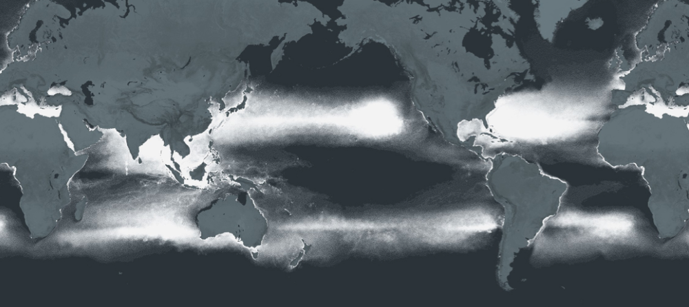 A mapping of the plastic smog pervading our oceans