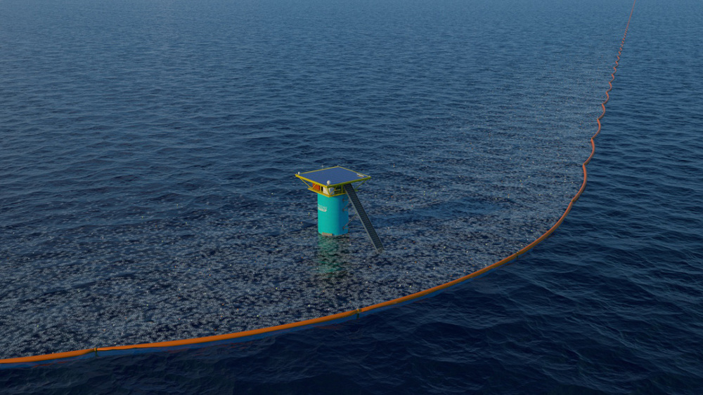 """Boyan Slat's Ocean Cleanup Project's """"Net Array."""" Photo credit: Ocean Cleanup Project"""