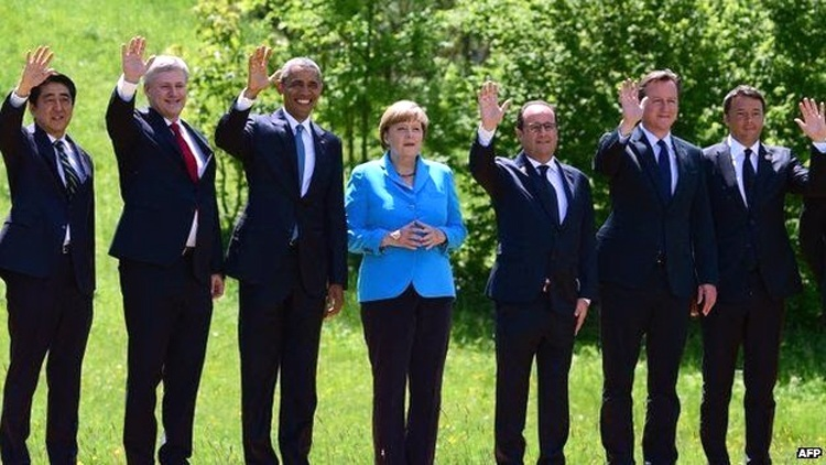 World leaders at the 2015 G7 meeting in Germany. Photo credit: AFP