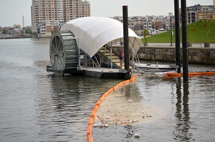 Downriver plastic waterwheel collection system in U.S.
