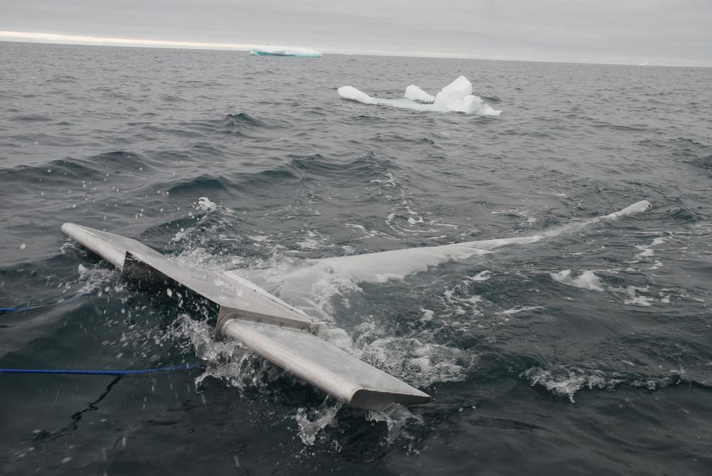 A research trawl gathering microplastics
