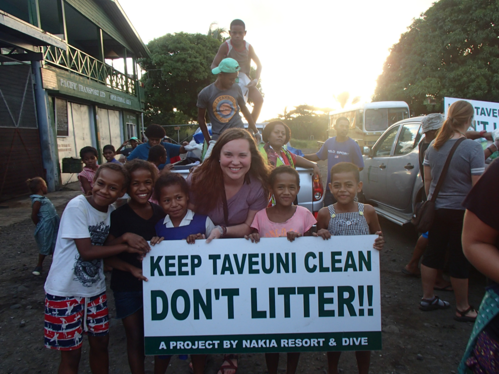 Kayla at a beach cleanup in Fiji in 2015
