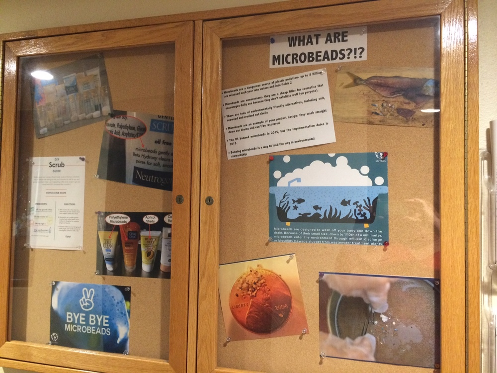 #BeadFree bulletin board outside the lunchroom at Sierra Nevada.