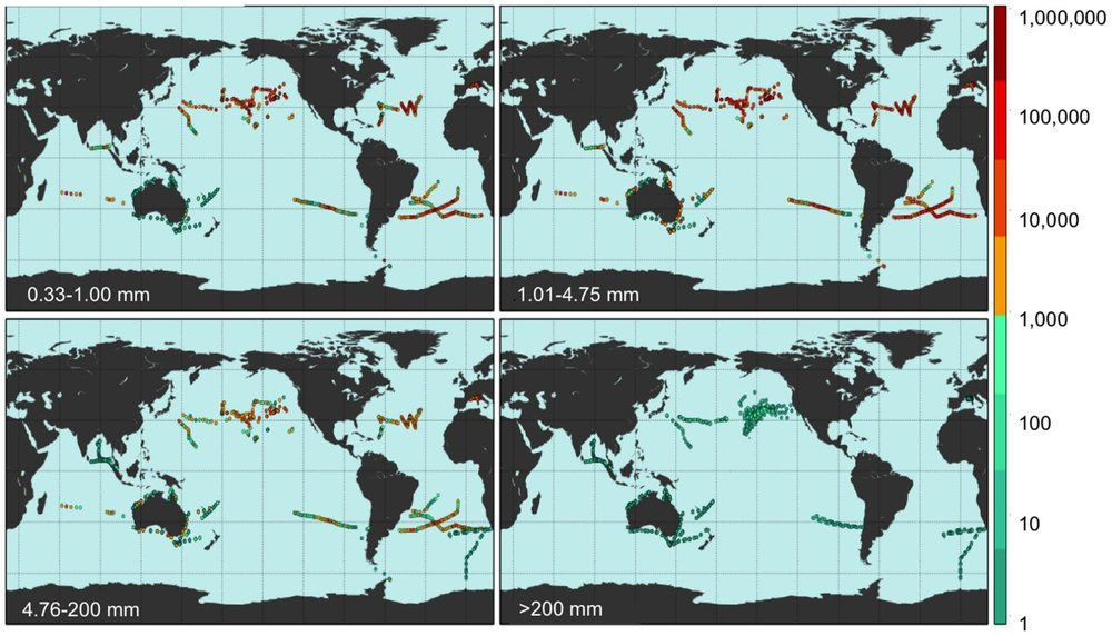 This map shows the 1,571 field locations where count density was measured during 5 Gyres Expeditions and through surveys conducted by research partners. For more information on the 2014 Global Estimate, please visit our  Publications  page.