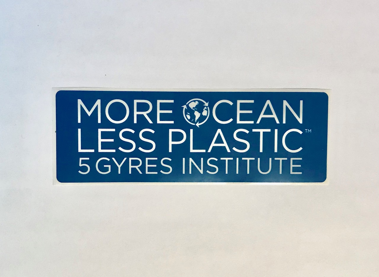 More ocean less plastic sticker 5gyres org