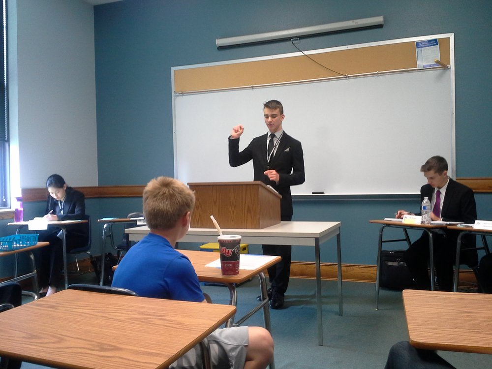 Drew competing in Team Policy debate during his novice year.