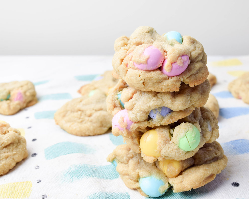 Cookies full of M&Ms = leaning tower of cookies