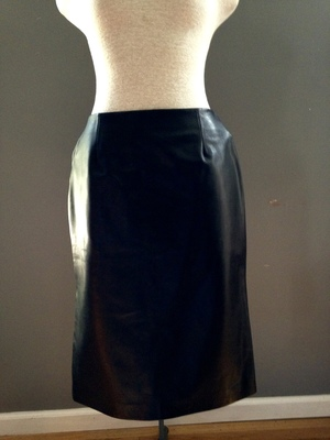 4f74687d59b vintage black leather skirt with bottom side zips  49