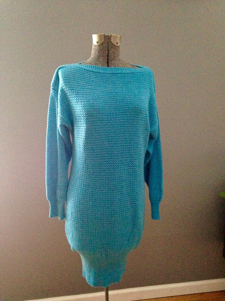c818532664 vintage turquoise shaker knit sweater dress  31 - dresses - bright ...