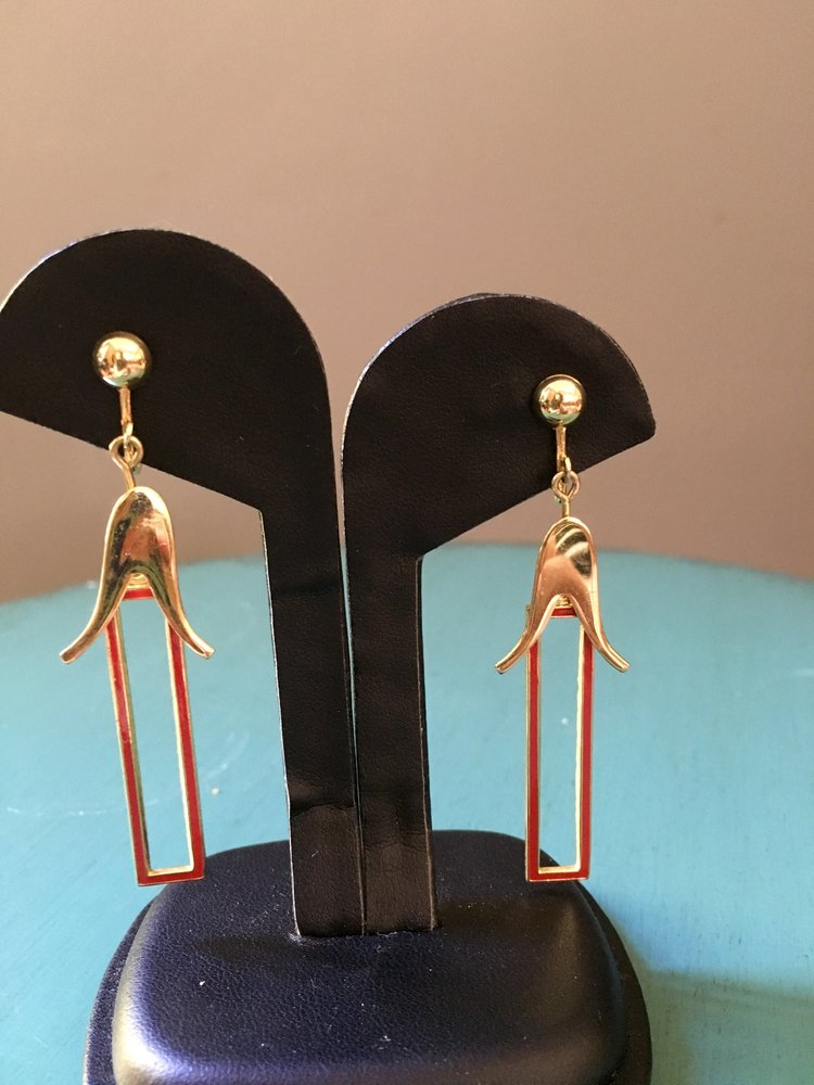 0c20bdcfbb29b vintage red and gold tone rectangular dangle clip-on earrings $25