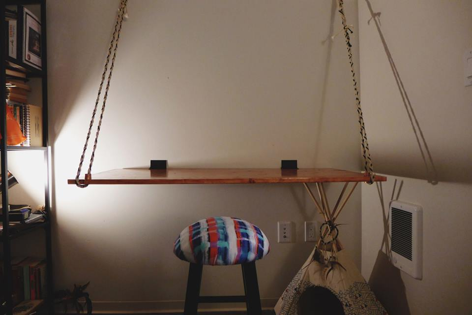 hanging desk + covered stool