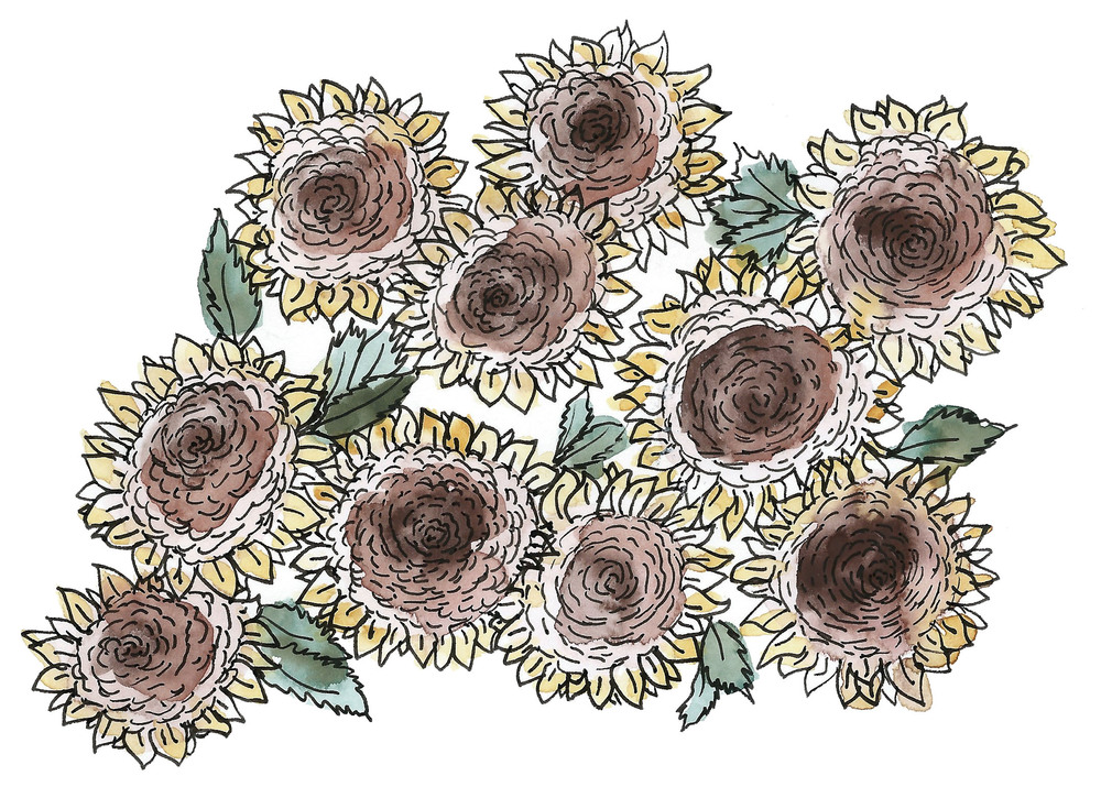 Sunflowers.  2016. Watercolor, gouache, and ink on paper.